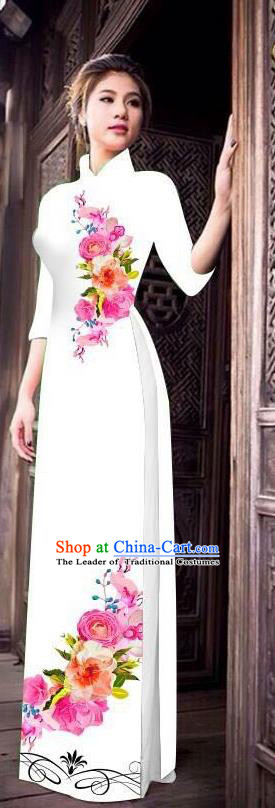 Top Grade Asian Vietnamese Costumes Classical Jing Nationality Long Cheongsam, Vietnam National Clothing Vietnamese Bride Traditional Printing White Ao Dai Dress