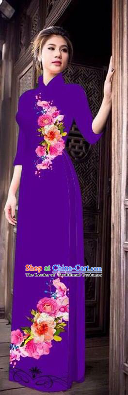 Top Grade Asian Vietnamese Costumes Classical Jing Nationality Long Cheongsam, Vietnam National Clothing Vietnamese Bride Traditional Printing Purple Ao Dai Dress