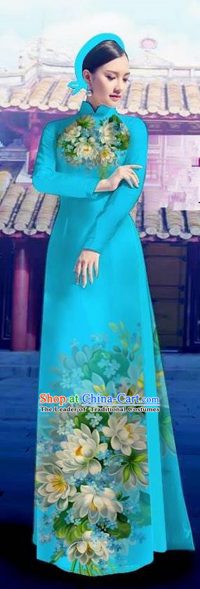 Top Grade Asian Vietnamese Costumes Classical Jing Nationality Long Blue Cheongsam, Vietnam National Clothing Vietnamese Bride Traditional Printing Flowers Ao Dai Dress