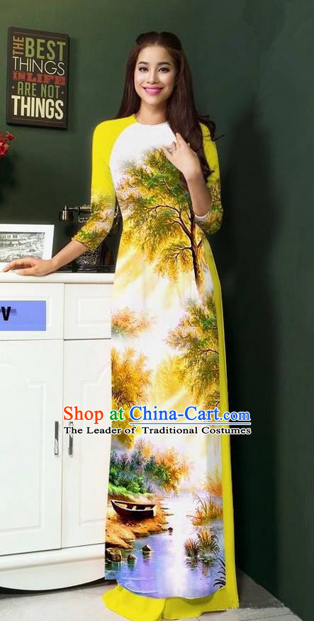 Top Grade Asian Vietnamese Clothing Classical Jing Nationality Handmade Cheongsam, Vietnam National Bride Traditional Printing Yellow Ao Dai Dress for Women