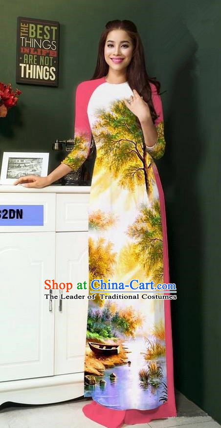 Top Grade Asian Vietnamese Clothing Classical Jing Nationality Handmade Cheongsam, Vietnam National Bride Traditional Printing Pink Ao Dai Dress for Women
