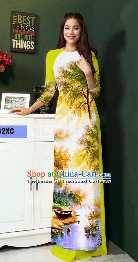 Top Grade Asian Vietnamese Clothing Classical Jing Nationality Handmade Cheongsam, Vietnam National Bride Traditional Printing Green Ao Dai Dress for Women