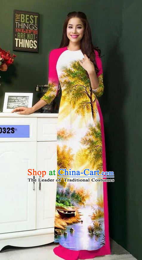 Top Grade Asian Vietnamese Clothing Classical Jing Nationality Handmade Cheongsam, Vietnam National Bride Traditional Printing Rosy Ao Dai Dress for Women