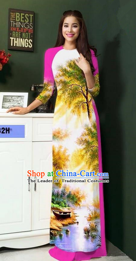 Top Grade Asian Vietnamese Clothing Classical Jing Nationality Handmade Cheongsam, Vietnam National Bride Traditional Printing Light Purple Ao Dai Dress for Women