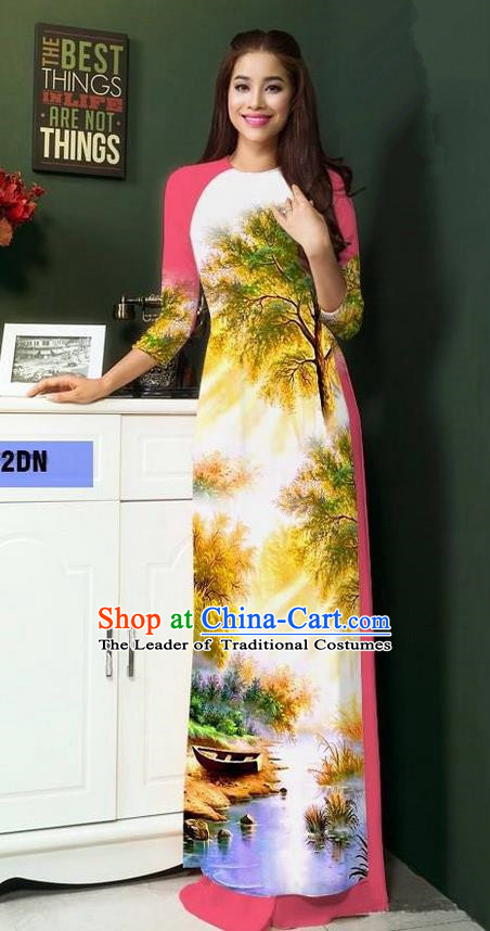 Top Grade Asian Vietnamese Clothing Classical Jing Nationality Handmade Cheongsam, Vietnam National Bride Traditional Printing Watermelon Red Ao Dai Dress for Women