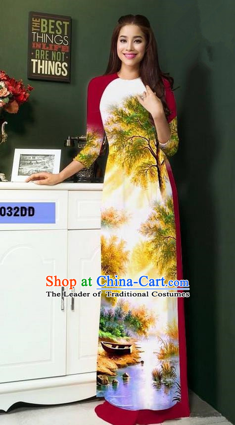 Top Grade Asian Vietnamese Clothing Classical Jing Nationality Handmade Cheongsam, Vietnam National Bride Traditional Printing Wine Red Ao Dai Dress for Women
