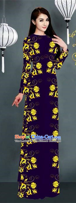 Top Grade Asian Vietnamese Clothing Classical Jing Nationality Handmade Cheongsam, Vietnam National Bride Traditional Printing Deep Purple Ao Dai Dress for Women