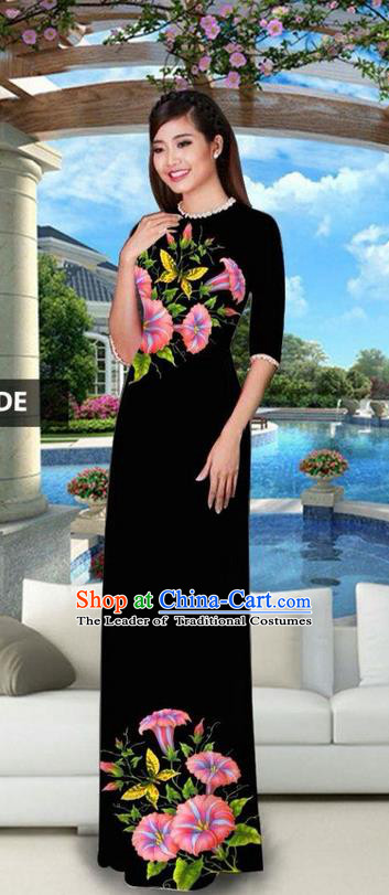 Traditional Top Grade Asian Vietnamese Jing Nationality Classical Ao Dai Dress, Vietnam National Bride Printing Black Cheongsam Costumes for Women