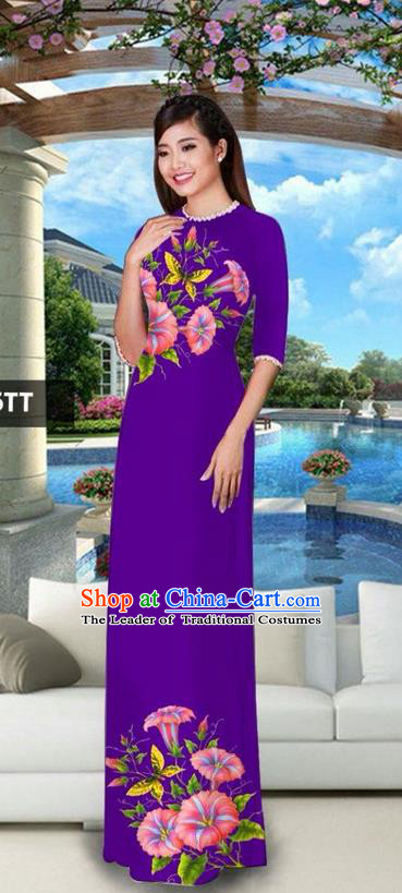 Traditional Top Grade Asian Vietnamese Jing Nationality Classical Ao Dai Dress, Vietnam National Bride Printing Purple Cheongsam Costumes for Women