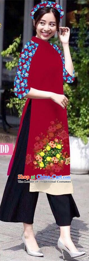 Traditional Top Grade Asian Vietnamese Jing Nationality Classical Ao Dai Dress, Vietnam National Bride Printing Wine Red Short Cheongsam Costumes for Women