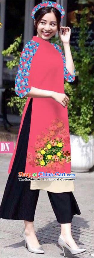 Traditional Top Grade Asian Vietnamese Jing Nationality Classical Ao Dai Dress, Vietnam National Bride Printing Pink Short Cheongsam Costumes for Women