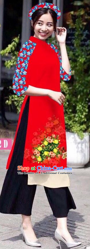 Traditional Top Grade Asian Vietnamese Jing Nationality Classical Ao Dai Dress, Vietnam National Bride Printing Red Short Cheongsam Costumes for Women