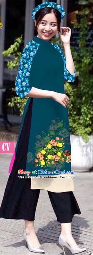Traditional Top Grade Asian Vietnamese Jing Nationality Classical Ao Dai Dress, Vietnam National Bride Printing Peacock Green Short Cheongsam Costumes for Women