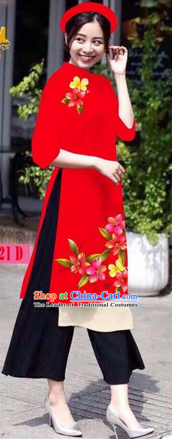 Traditional Top Grade Asian Vietnamese Jing Nationality Ha Festival Ao Dai Dress, Vietnam National Bride Printing Red Short Cheongsam Costumes for Women