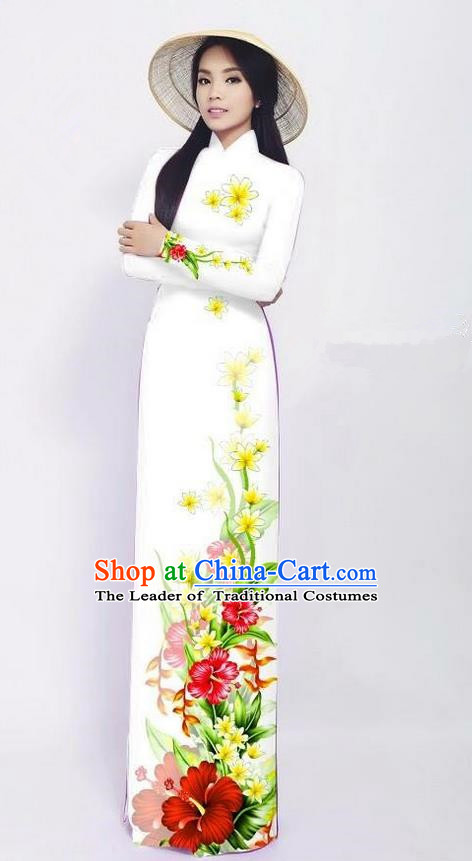 Traditional Top Grade Asian Vietnamese Jing Nationality Ha Festival Long Ao Dai Dress, Vietnam National Bride Printing White Cheongsam Costumes for Women