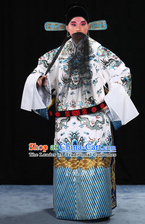 Traditional Chinese Beijing Opera Male White Clothing and Belts Complete Set, China Peking Opera His Royal Highness Costume Embroidered Robe Dragon robe Opera Costumes