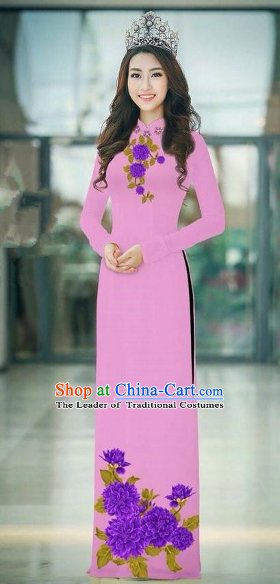 Traditional Top Grade Asian Vietnamese Ha Festival Pink Long Ao Dai Dress, Vietnam National Jing Nationality Printing Cheongsam Costumes for Women