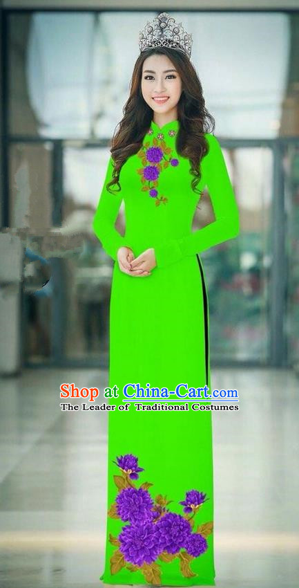 Traditional Top Grade Asian Vietnamese Ha Festival Green Long Ao Dai Dress, Vietnam National Jing Nationality Printing Cheongsam Costumes for Women