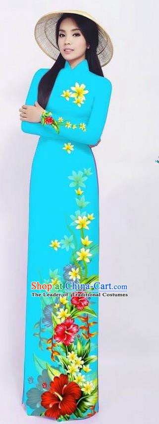 Traditional Top Grade Asian Vietnamese Ha Festival Long Ao Dai Dress and Pants, Vietnam National Jing Nationality Printing Blue Cheongsam Costumes for Women