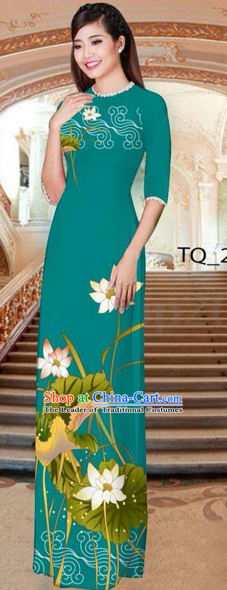 Traditional Top Grade Asian Vietnamese Ha Festival Long Green Ao Dai Dress, Vietnam National Jing Nationality Printing Lotus Cheongsam Costumes for Women