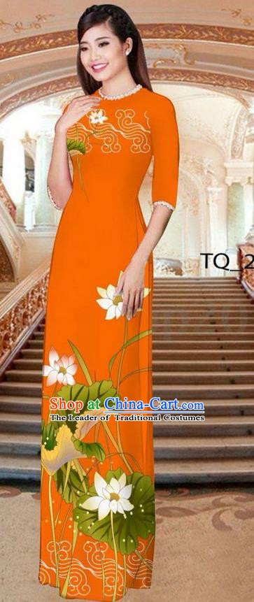 Traditional Top Grade Asian Vietnamese Ha Festival Long Orange Ao Dai Dress, Vietnam National Jing Nationality Printing Lotus Cheongsam Costumes for Women