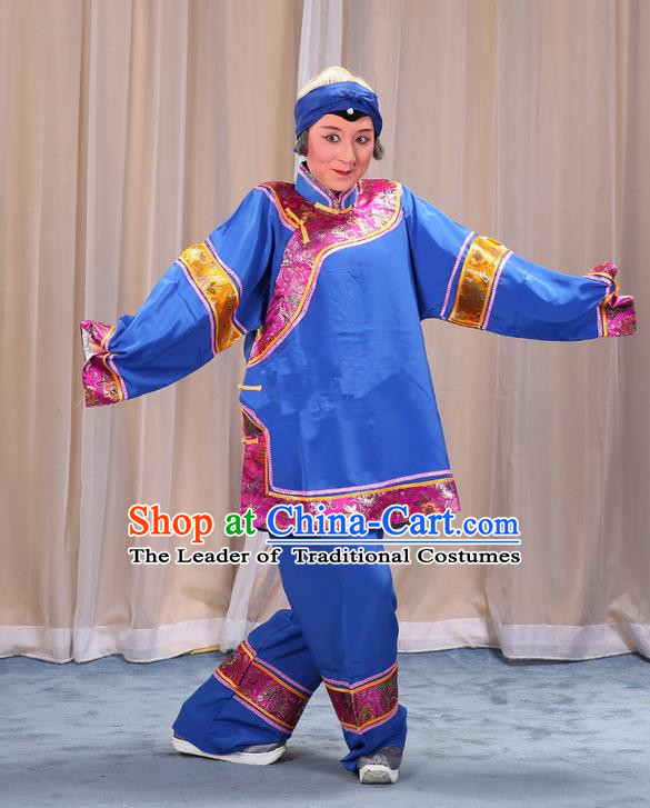 Traditional Chinese Beijing Opera Old Female Blue Clothing and Shoes Headwear Complete Set, China Peking Opera Woman Matchmaker Costume Embroidered Opera Costumes
