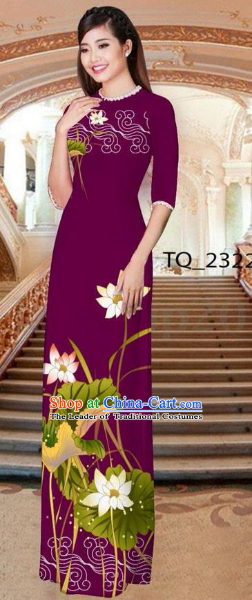 Traditional Top Grade Asian Vietnamese Ha Festival Long Amaranth Ao Dai Dress, Vietnam National Jing Nationality Printing Lotus Cheongsam Costumes for Women