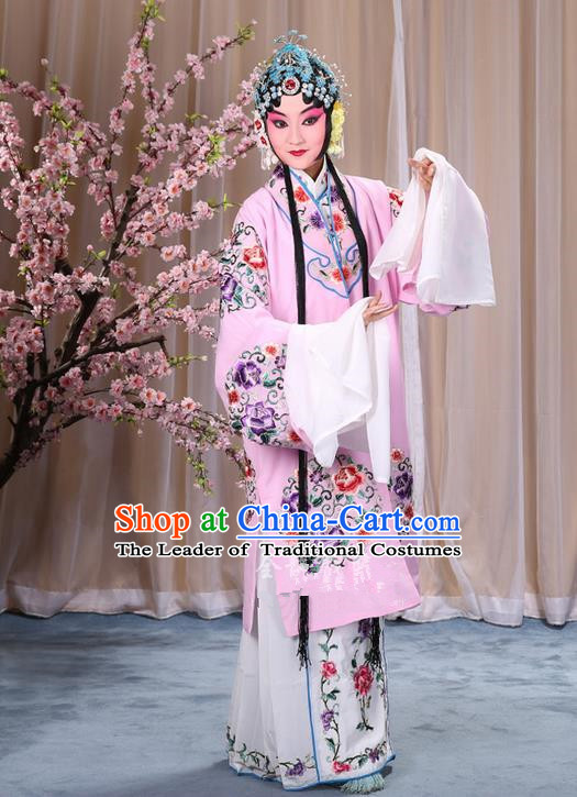 Traditional Chinese Beijing Opera Shaoxing Opera Young Female Pink Clothing and Headwear Shoes Complete Set, China Peking Opera Diva Role Hua Tan Costume Embroidered Opera Bride Costumes