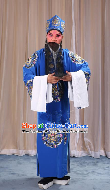 Traditional Chinese Beijing Opera Old Male Landlord Blue Clothing and Headwear Boots Complete Set, China Peking Opera Laosheng-role Costume Ministry Councillor Embroidered Clothing Opera Costumes