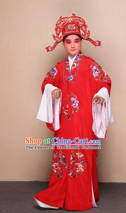 Traditional Chinese Beijing Opera Lang Scholar Dress Clothing and Boots Complete Set, China Peking Opera Young Man Costume Bridegroom Embroidered Robe Opera Costumes