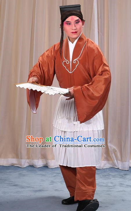 Traditional Chinese Beijing Opera Clown Bronze Clothing and Shoes Headwear Complete Set, China Peking Opera Miscellaneous Affairs Costume Opera Wu Dalang Costumes