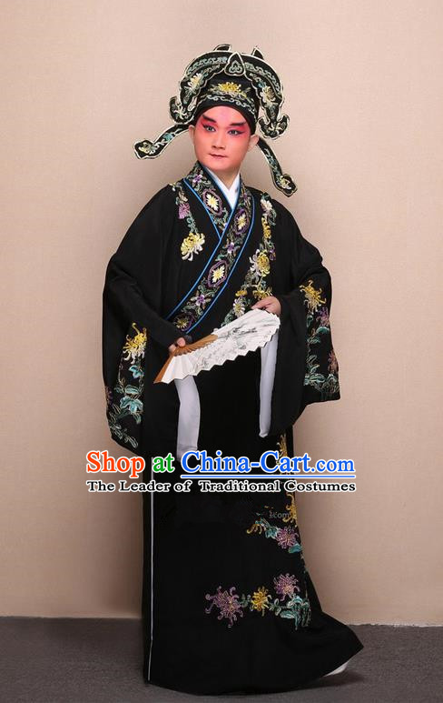Traditional Chinese Beijing Opera Niche Black Dress Clothing Complete Set, China Peking Opera Young Man Costume Embroidered Chrysanthemum Robe Opera Costumes