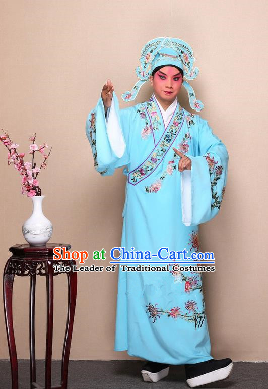 Traditional Chinese Beijing Opera Niche Light Blue Dress Clothing Complete Set, China Peking Opera Young Man Costume Embroidered Chrysanthemum Robe Opera Costumes