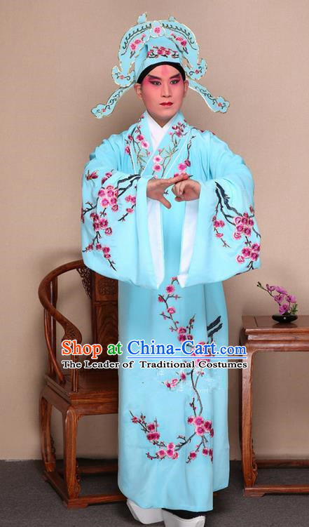 Traditional Chinese Beijing Opera Niche Blue Dress Clothing Complete Set, China Peking Opera Young Man Costume Embroidered Plum Blossom Robe Opera Costumes