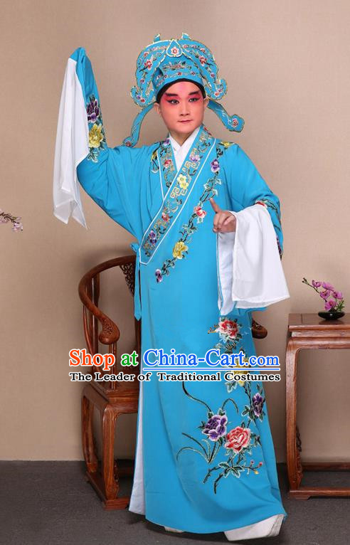 Traditional Chinese Beijing Opera Niche Blue Dress Clothing and Boots Fan Complete Set, China Peking Opera Gifted Youth Man Costume Embroidered Robe Opera Costumes