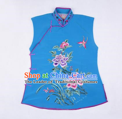 Traditional Chinese Beijing Opera Servant Girl Blue Vests, China Peking Opera Young Lady Costume Embroidered Opera Waistcoat Costumes