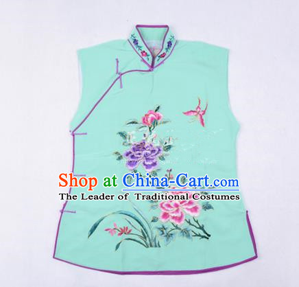 Traditional Chinese Beijing Opera Servant Girl Green Vests, China Peking Opera Young Lady Costume Embroidered Opera Waistcoat Costumes