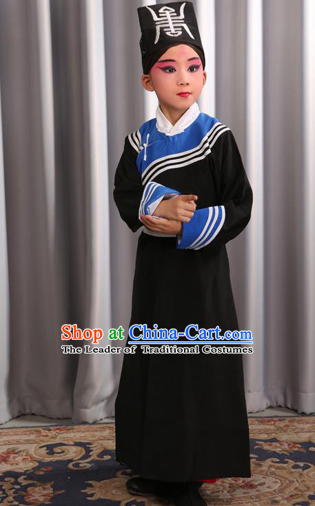 Traditional Chinese Beijing Opera Government Runners Black Clothing and Shoes Complete Set, China Peking Opera Buster Constable Costume Opera Costumes for Kids