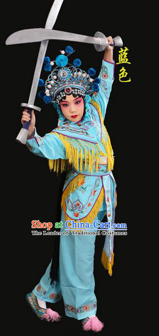 Traditional Chinese Beijing Opera Magic Warriors Blue Clothing and Headwear Shoes Complete Set, China Peking Opera Women Pawn Dress Costume Embroidered Opera Costumes for Kids