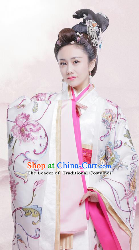 Traditional Chinese Ancient Warring States Time Imperial Concubine Costume, Song of Phoenix Chu State Palace Lady Hanfu Clothing and Handmade Headpiece Complete Set