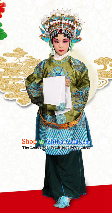 Traditional Chinese Beijing Opera Old Woman Blue Clothing and Phoenix Headwear Shoes Complete Set, China Peking Opera Pantaloon Costume Embroidered Opera Costumes for Kids