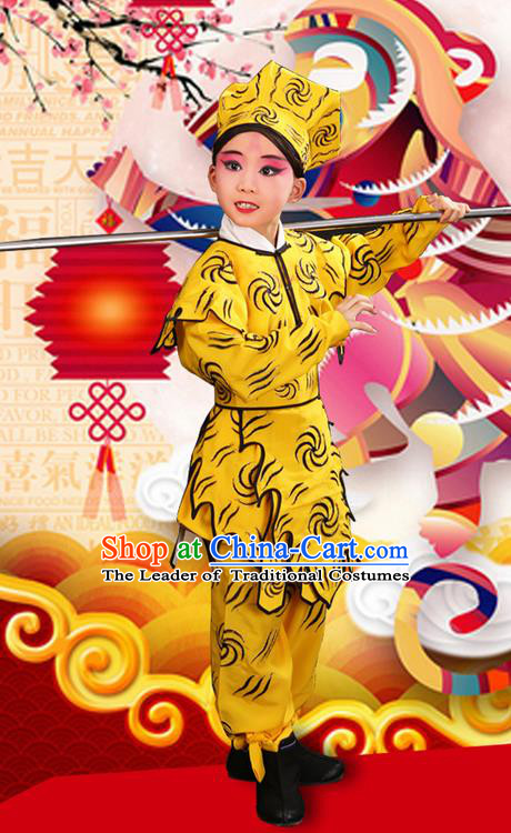 Traditional Chinese Beijing Opera Handsome Monkey King Clothing ad Boots Complete Set, China Peking Opera Role Sun Wukong Costume Opera Costumes for Kids