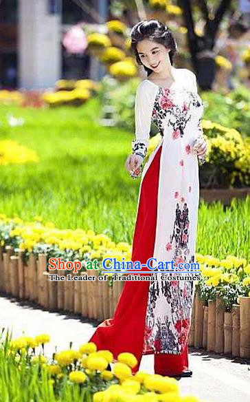 Traditional Top Grade Asian Vietnamese Ha Festival Long Ao Dai Dress, Vietnam National Jing Nationality Landscape Painting Cheongsam Costumes for Women