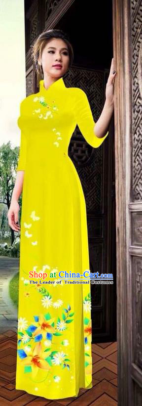 Traditional Top Grade Asian Vietnamese Ha Festival Printing Ao Dai Dress, Vietnam National Jing Nationality Long Yellow Cheongsam Costumes for Women