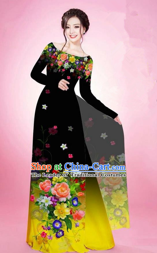Traditional Top Grade Asian Vietnamese Ha Festival Printing Flowers Black Ao Dai Dress, Vietnam National Jing Nationality Off Shoulder Cheongsam Costumes for Women