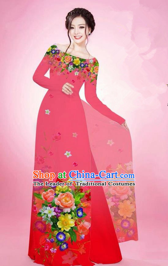 Traditional Top Grade Asian Vietnamese Ha Festival Printing Flowers Watermelon Red Ao Dai Dress, Vietnam National Jing Nationality Off Shoulder Cheongsam Costumes for Women