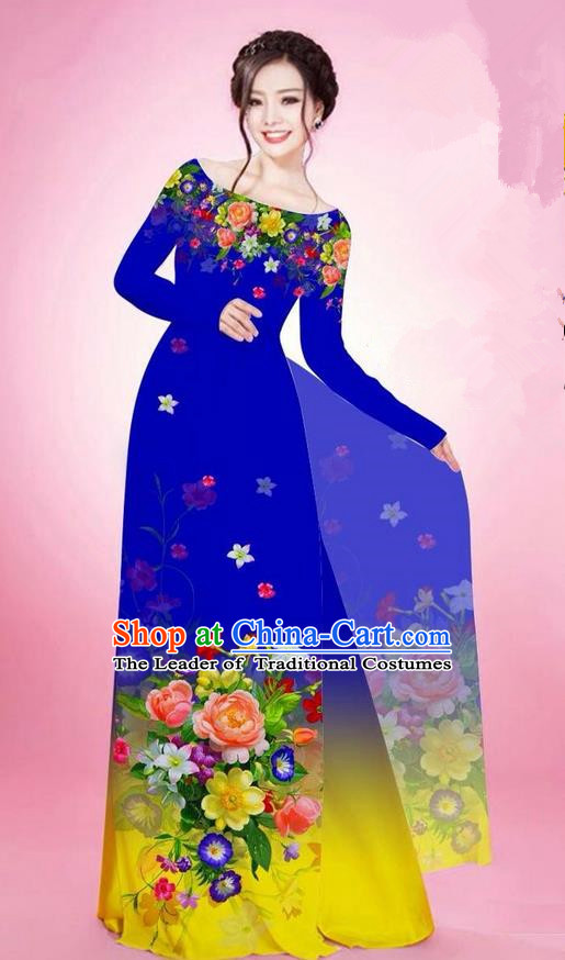 Traditional Top Grade Asian Vietnamese Ha Festival Printing Flowers Royalblue Ao Dai Dress, Vietnam National Jing Nationality Off Shoulder Cheongsam Costumes for Women