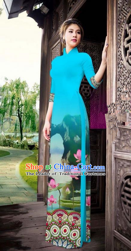 Traditional Top Grade Asian Vietnamese Ha Festival Printing China Guilin Scenery Blue Ao Dai Dress, Vietnam National Jing Nationality Cheongsam Costumes for Women