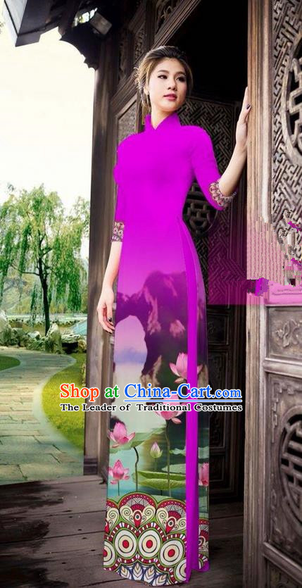 Traditional Top Grade Asian Vietnamese Ha Festival Printing China Guilin Scenery Rosy Ao Dai Dress, Vietnam National Jing Nationality Cheongsam Costumes for Women