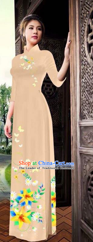 Traditional Top Grade Asian Vietnamese Ha Festival Printing Ao Dai Dress, Vietnam National Jing Nationality Long Khaki Cheongsam Costumes for Women